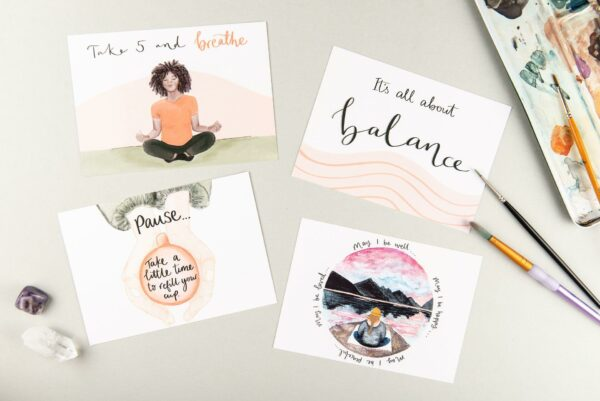 Positive postcards, with meditation themed quotes and illustrations