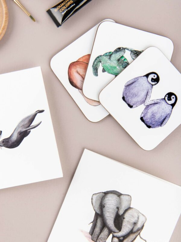 Selection of animal themed illustrated gifts, including prints, cards and coasters