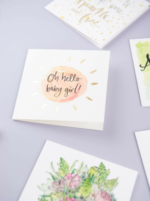 Selection of Sunshine for Breakfast greeting cards - hello baby girl