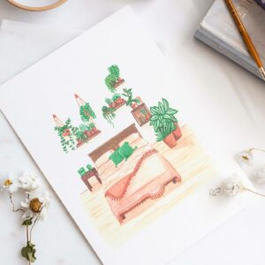 Illustration of house plants covering a bedroom wall and a pretty terracotta bed