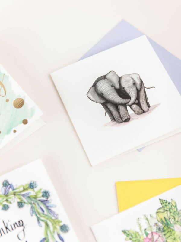 Selection of Sunshine for Breakfast greeting cards, elephants in love card