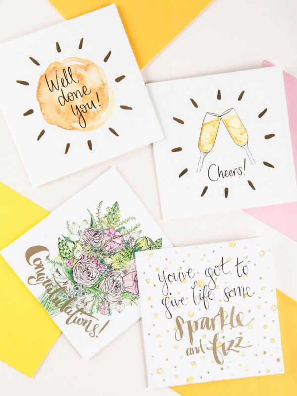 Celebration cards with gold foil details - well done, cheers, congratulations, sparkle and fizz.