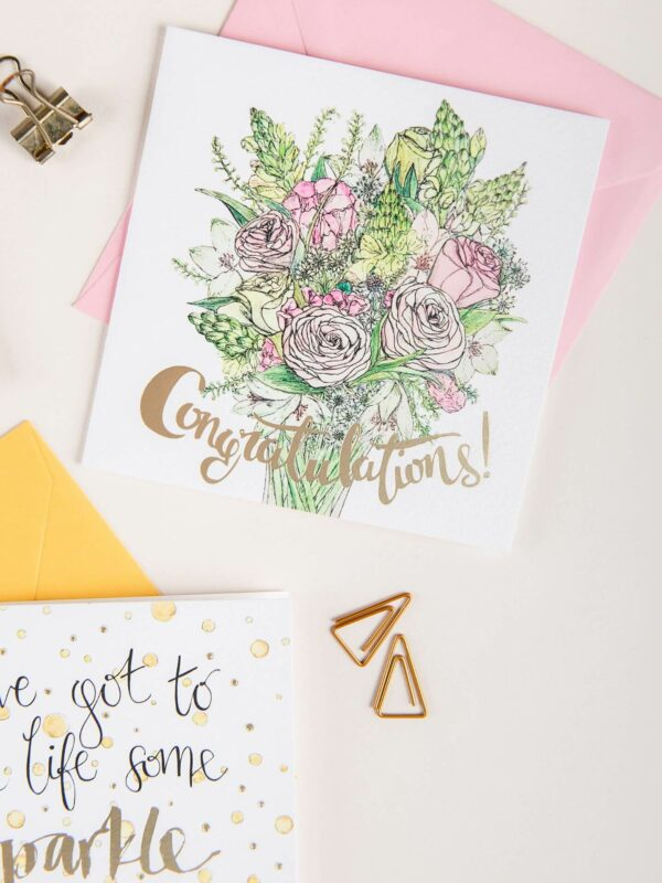 Congratulations card with gold foil detail and beautiful pink bouquet