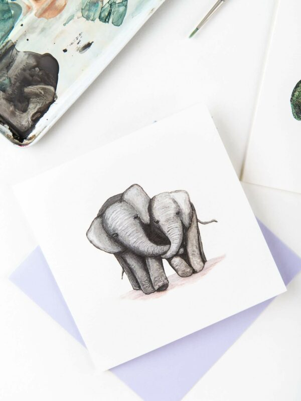 Cute Elephants card, featuring two cute elephants cuddling