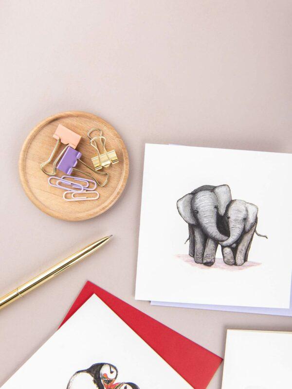 Cute Elephants card, featuring two elephants cuddling