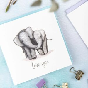 Cute Elephants card, featuring two elephants cuddling and text 'love you'