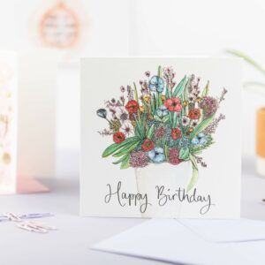 Floral bouquet happy birthday card