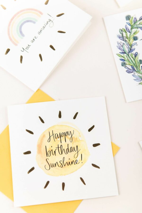 Happy birthday sunshine card and you are amazing rainbow card