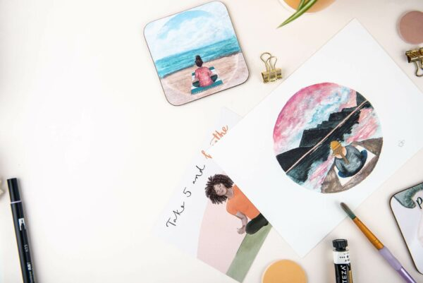 Positive postcards, prints and coasters, with meditation themed quotes and illustrations