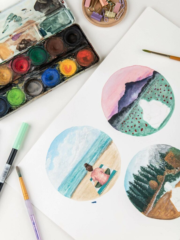 work in progress watercolour illustrations of meditations in nature,