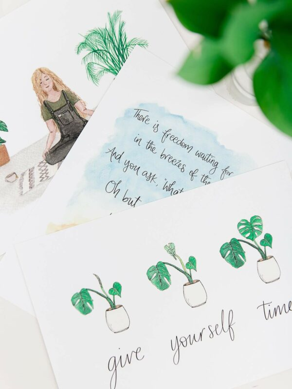 Positive art prints, with meditation and house plant themed quotes and illustrations