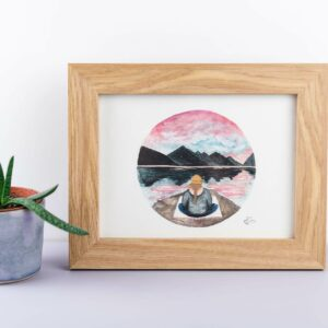 Meditation by the mountains - framed art print