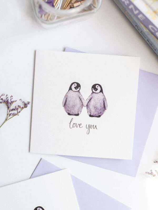 Cute Penguin Valentines Card, featuring two cute penguins in love.
