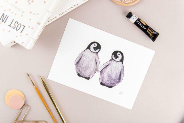 Cute fluffy penguins watercolour illustration