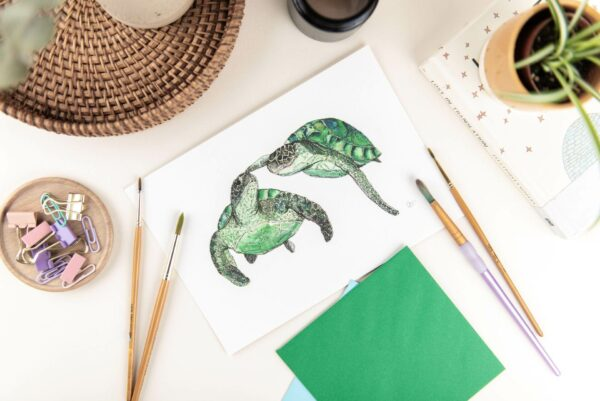 Art print - watercolour illustration two turtles swimming touching flipper to nose