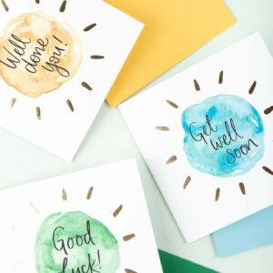 Greetings cards - well done you, get well soon, good luck