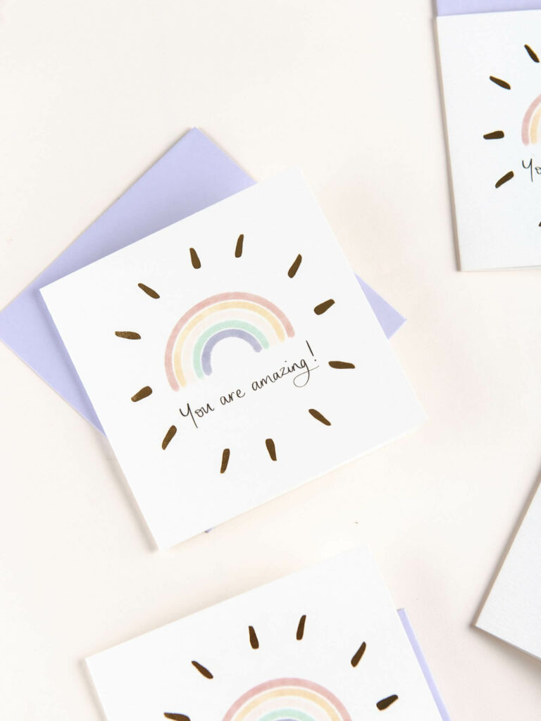 Greeting card - reads 'you are amazing' with rainbow design and gold foil detail