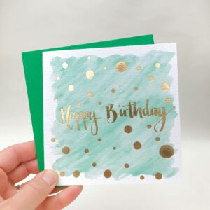 Teal happy birthday card with luxury gold foil detail
