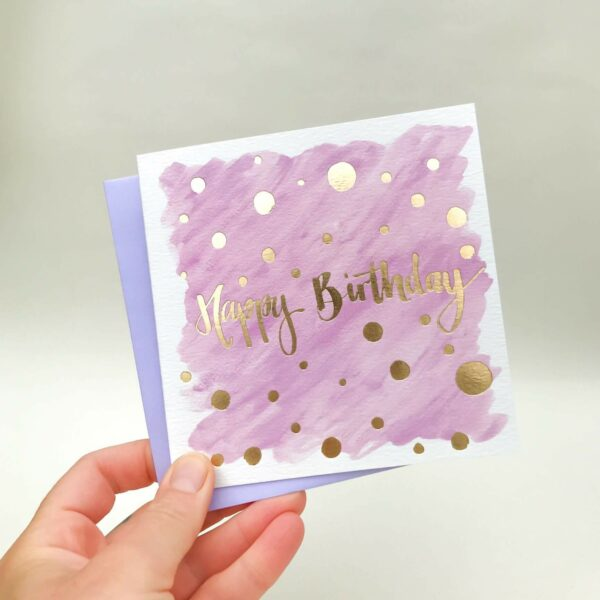 Purple happy birthday card with luxury gold foil detail