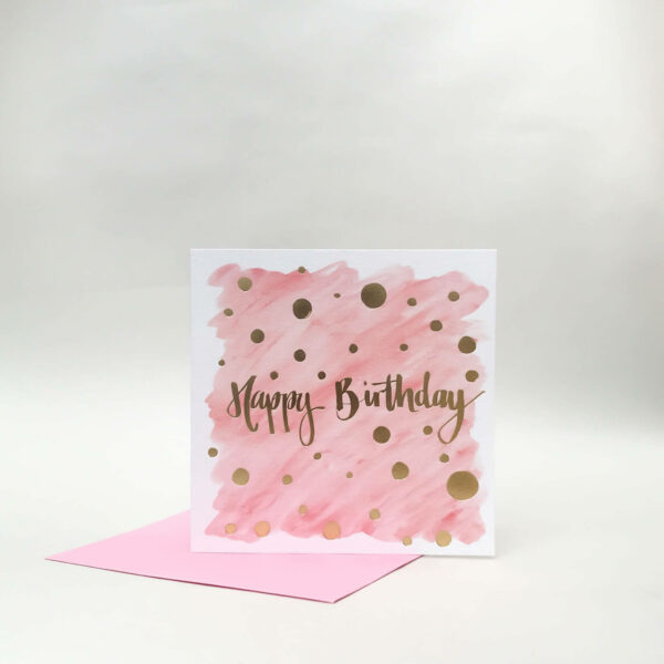 Pink happy birthday card with luxury gold foil detail