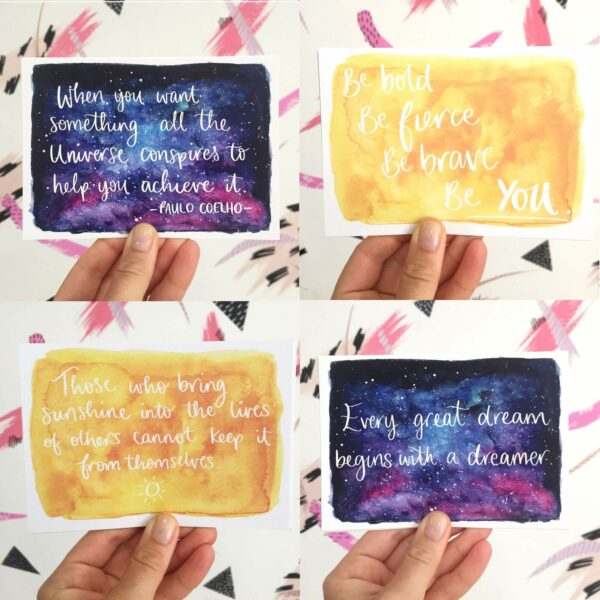 4 Positive quote postcards in sunshine and night sky water colour designs