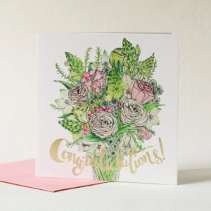 Congratulations card with beautiful pink bouquet and gold foil detail