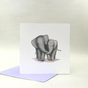 Printed card - illustration of two cute elephants cuddling