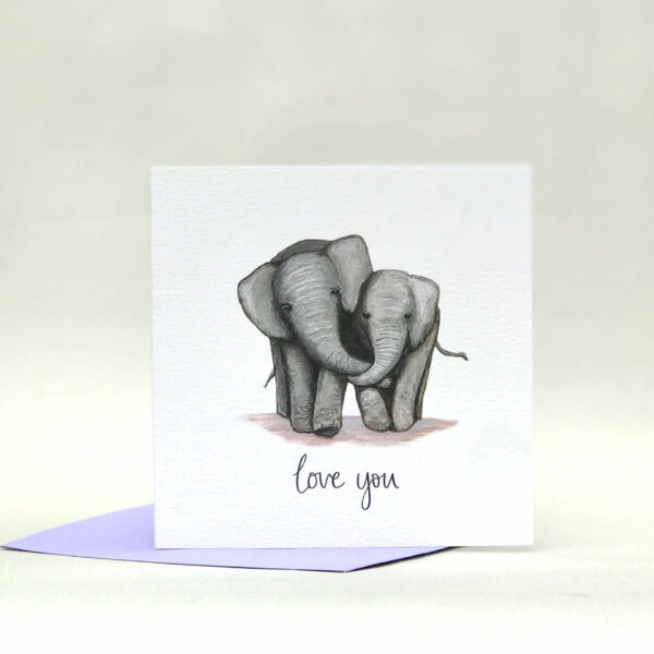 Printed card - illustration of two cute elephants cuddling, with 'love you' text beneath