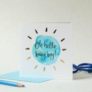 Oh hello baby boy - greeting card