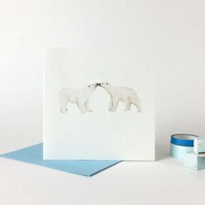 Printed card - two cute cute polar bears touching noses