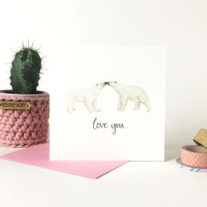 Printed card - two cute cute polar bears touching noses and text 'love you' beneath