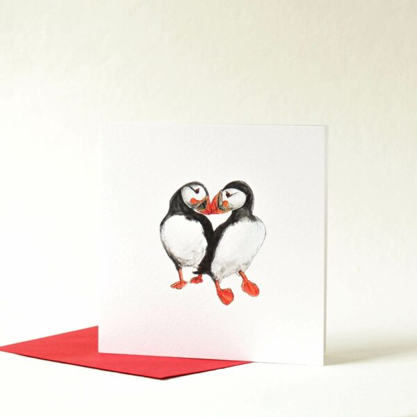 Printed card - two puffins touching beaks