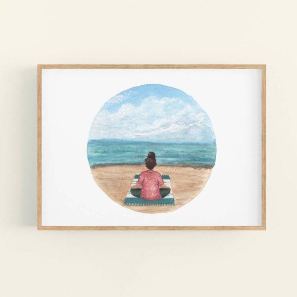 Meditating girl on a beach illustration in natural wood frame