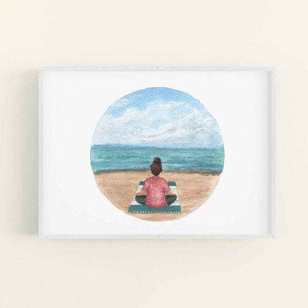 Meditating girl on a beach illustration in white frame