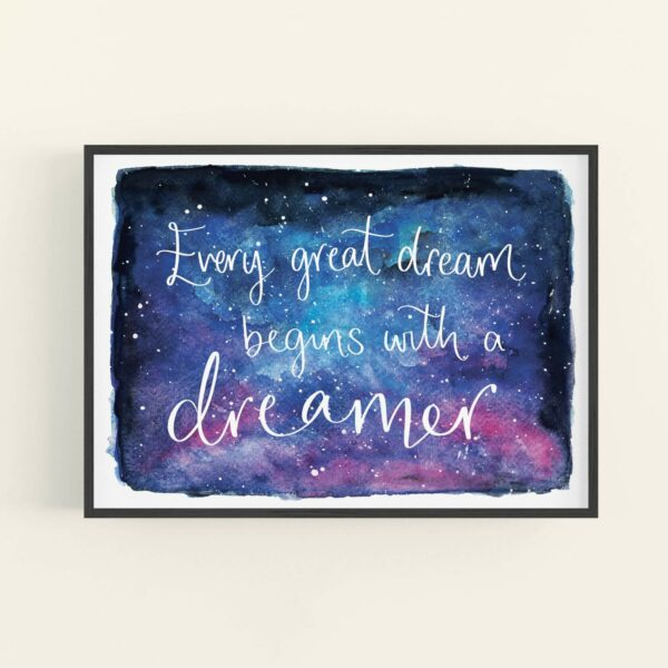 Night sky watercolour illustration with white text reading 'Every great dream begins with a dreamer' - in black frame