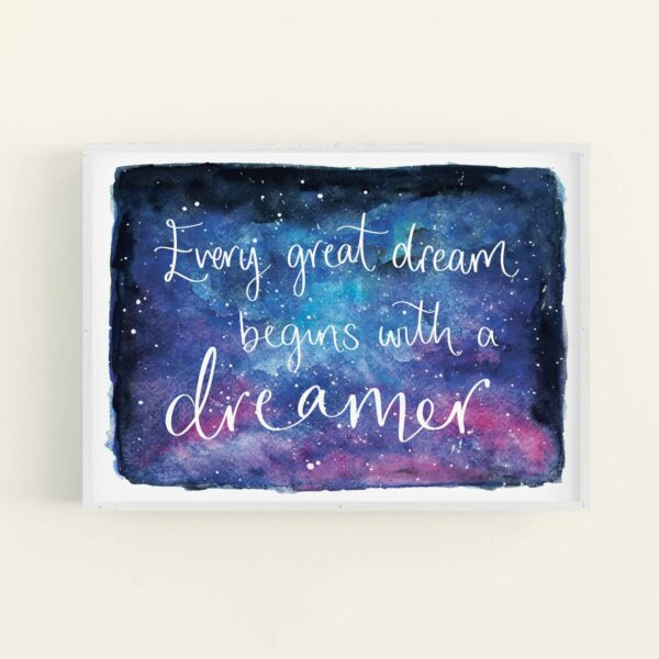 Night sky watercolour illustration with white text reading 'Every great dream begins with a dreamer' - in white frame