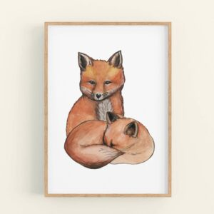 foxes art print, featuring 2 foxes cuddled up together, one sleeping, one looking ahead.