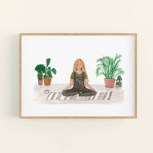 Meditating girl with house plants illustration, in wooden frame