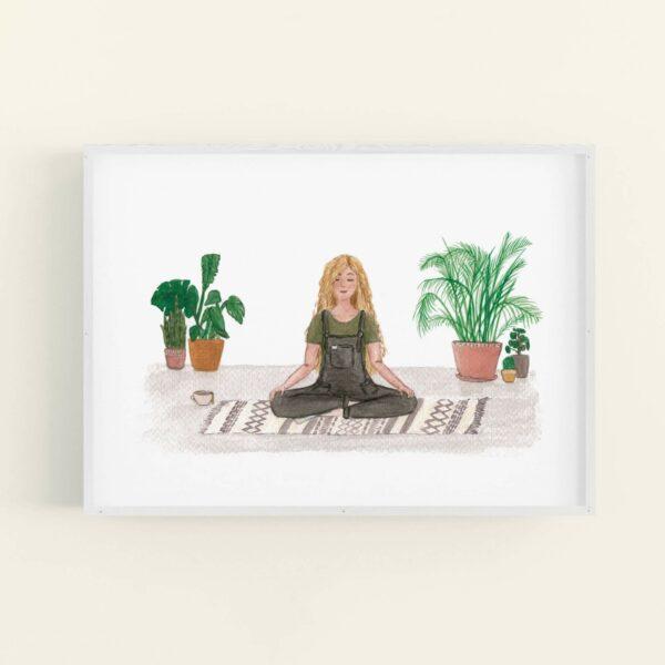 Meditating girl with house plants illustration, in white frame