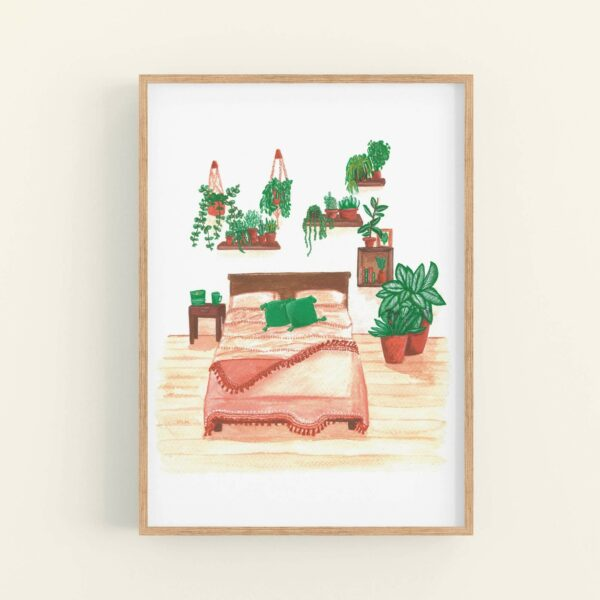 Illustration of house plants covering a bedroom wall and a pretty terracotta themed bedspread - displayed in wooden frame