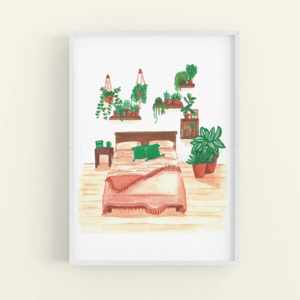 Illustration of house plants covering a bedroom wall and a pretty terracotta themed bedspread - displayed in white frame