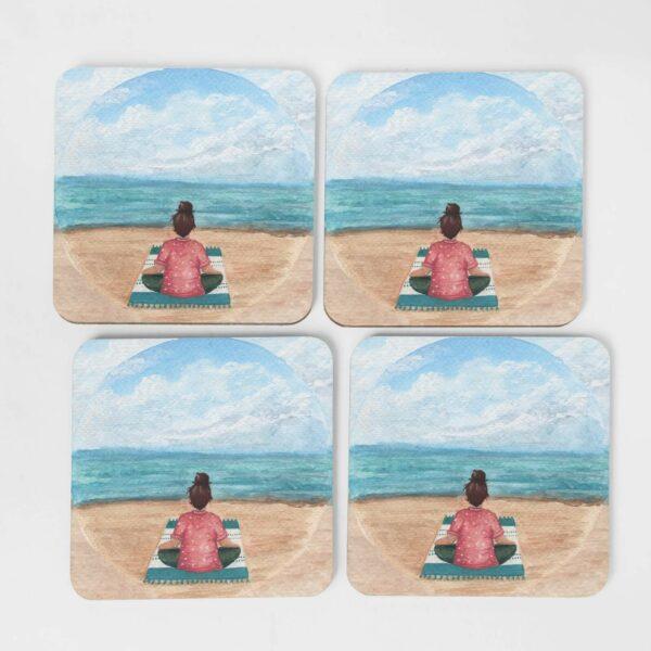 Meditation by the sea - 4 coasters