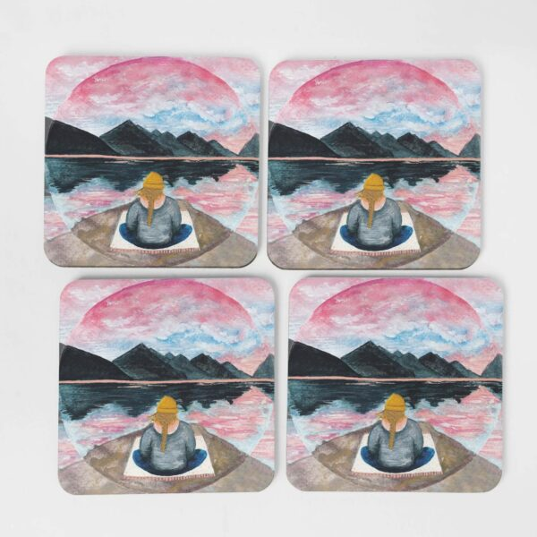 Meditation by the mountains - 4 coasters