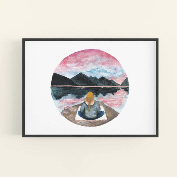 Calming meditating girl sat beneath mountains illustration - in a black frame