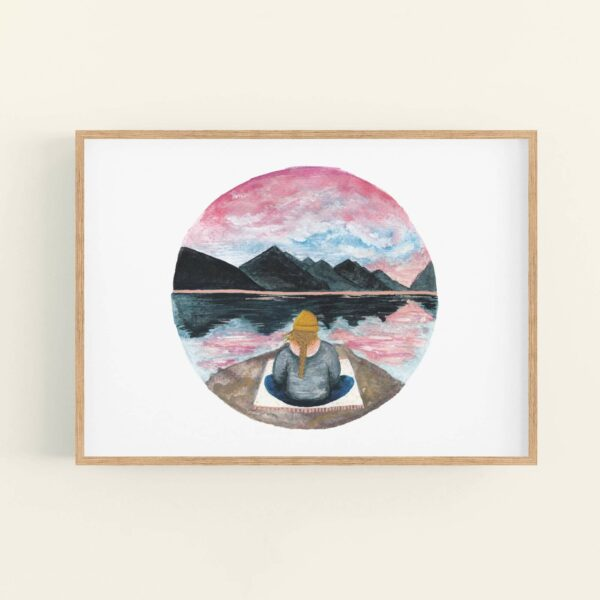 Calming meditating girl sat beneath mountains illustration - in a wooden frame