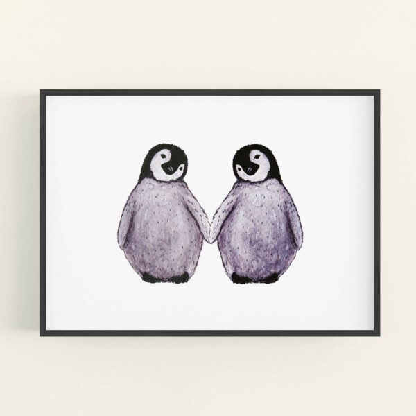 Illustration of 2 cute penguins holding flippers - black frame