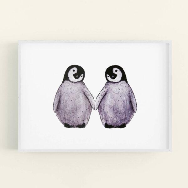 Illustration of 2 cute penguins holding flippers - white frame