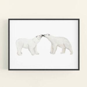 Illustration of 2 polar bears touching noses - black frame