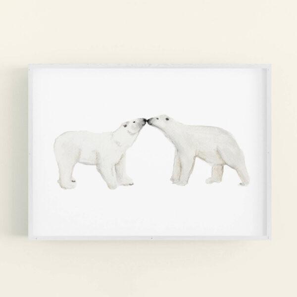 Illustration of 2 polar bears touching noses - white frame