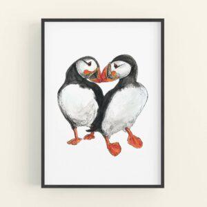Illustration of 2 puffins touching beaks - black frame